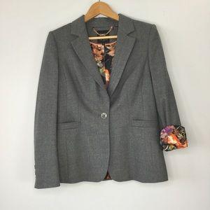 Ted Baker London grey wool blazer size 3